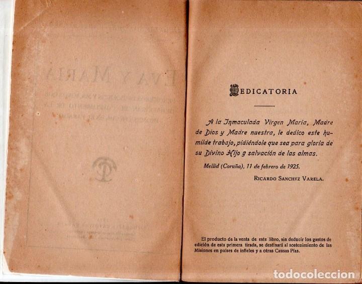 Libros antiguos: EVA Y MARIA. RICARDO SANCHEZ VARELA, PBRO. TIPOGRAFIA CATOLICA CASALS. 1925. - Foto 3 - 161221226