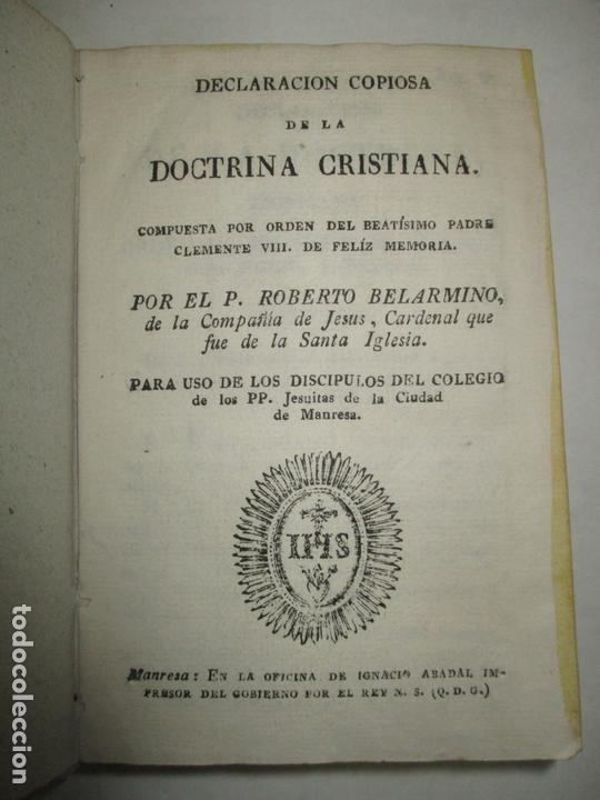 DECLARACIÓN COPIOSA DE LA DOCTRINA CRISTIANA. BELARMINO, ROBERTO. C.1800. (Libros Antiguos, Raros y Curiosos - Religión)