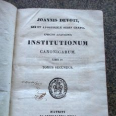 Libros antiguos: JOANNIS DEVOTI, DEI ET APOSTOLICE SEDIS GRATIA - INSTITUTIONUM CANONICARUM - LIBRI IV TOMO 2 - 1733 . Lote 166267814