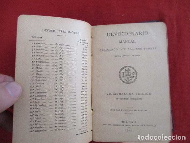 Libros antiguos: Devocionario Manual - Bilbao 1907 - Foto 6 - 167617120