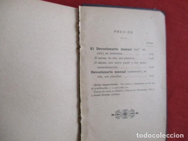 Libros antiguos: Devocionario Manual - Bilbao 1907 - Foto 12 - 167617120