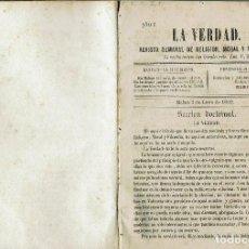 Libros antiguos: LA VERDAD, REVISTA SEMANAL DE RELIGIÓN, MORAL Y FILOSOFÍA. AÑOS 1869-1870. (MENORCA.2.4). Lote 168354820