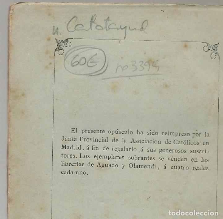 Libros antiguos: VIDA DEL VENERABLE FR DOMINGO DE JESUS MARIA Calatayud, carmelita descalzo 1879 ... - Foto 3 - 14857898