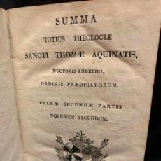 Libros antiguos: SUMMA TOTIUS THEOLOGIE, SANCTI THOMAE AQUINATIS AÑO 1827, TAPAS PIEL, 888PAGS. 15X11CMS. Lote 169292156