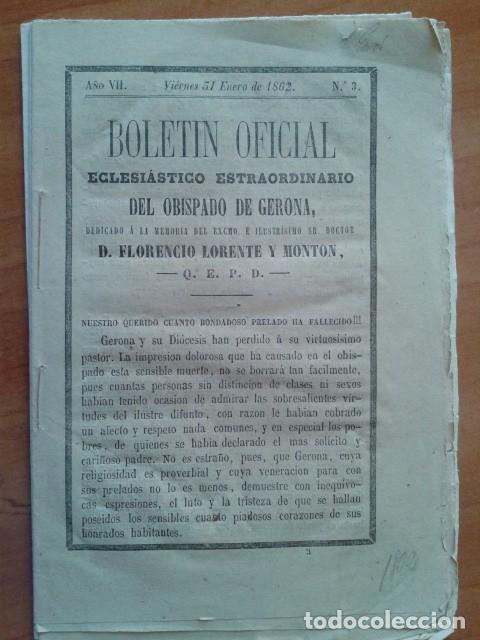 1862 BOLETÍN OFICIAL ECLESIATICO EXTRAORDINARIO DEL OBISPADO DE GERONA (Libros Antiguos, Raros y Curiosos - Religión)