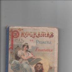 Libros antiguos: PROGRAMAS DE PRIMERA ENSEÑANZA. HISTORIA SAGRADA.CARLOS YEVES.. Lote 171420972