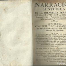 Libros antiguos: NARRACIÓN HISTÓRICA DE LA MILAGROSA VENIDA DE LA VIRGEN ......., ZARAGOZA 1706, 280 PÁG + ÍNDICES. Lote 172301778