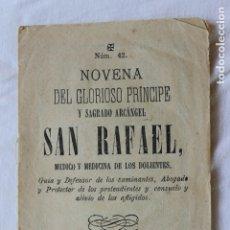 Libros antiguos: NOVENA SAGRADO ARCANGEL SAN RAFAEL, MURCIA 1880. Lote 172986084