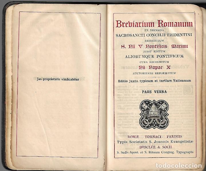 Libros antiguos: ANTIGUOS TRES LIBROS RELIGIOSOS DE BREBIARIUN ROMANUM VER FOTOS - Foto 2 - 173082137