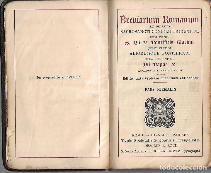 Libros antiguos: ANTIGUOS TRES LIBROS RELIGIOSOS DE BREBIARIUN ROMANUM VER FOTOS - Foto 3 - 173082137