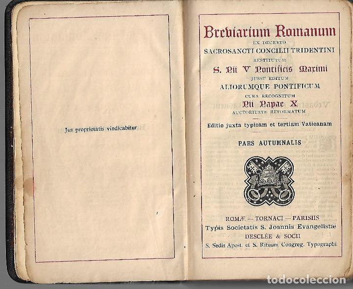 Libros antiguos: ANTIGUOS TRES LIBROS RELIGIOSOS DE BREBIARIUN ROMANUM VER FOTOS - Foto 4 - 173082137