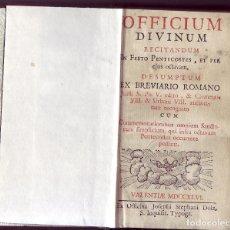 Libros antiguos: OFFICIUM DIVINUM REITANDUM. ED. JUFFUS S. PII. EX OFFICINA JOFEPHI STEPHANI DOLZ, VALENTIAE, 1746.. Lote 174069433