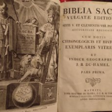 Libros antiguos: BIBLIA SACRA . LATIN TOMO I - 1783 PERGAMINO. Lote 174471695