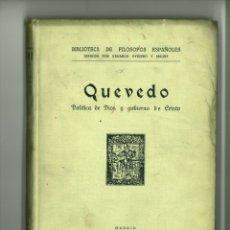 Libri antichi: POLÍTICA DE DIOS Y GOBIERNO DE CRISTO. FRANCISCO DE QUEVEDO Y VILLEGAS. Lote 175196409