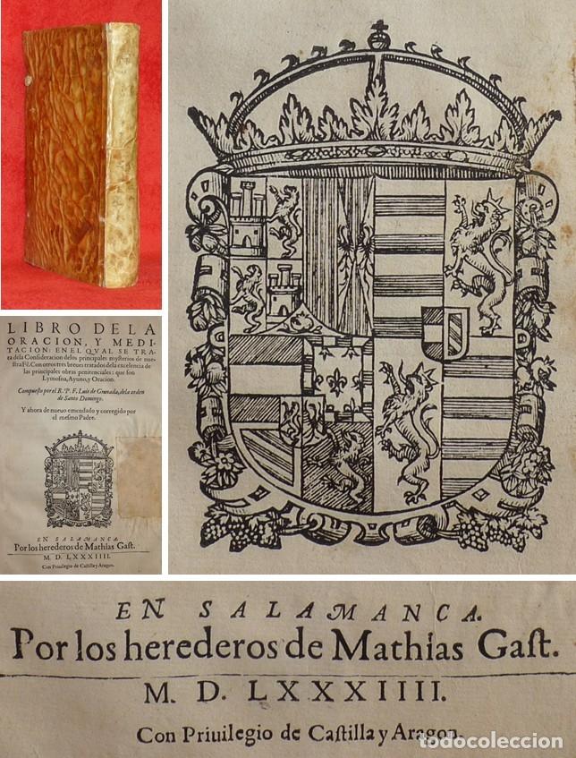 AÑO 1584 - 29 CM - EN ESPAÑOL - GUÍA DE PECADORES - LIBRO DE LA ORACION -2 LIBROS EN UN SOLO VOLUMEN (Libros Antiguos, Raros y Curiosos - Religión)
