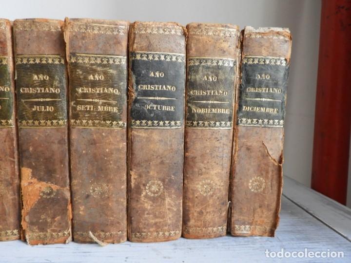 Libros antiguos: LIBROS DEL AÑO CRISTIANO 11 VOLUMENES AÑO 1844 POR JUAN CROISSET - Foto 3 - 175358117