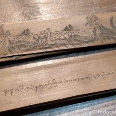 Libros antiguos: ESCRITOS ANTIGUOS PROVENIENTES DE LA ZONA DE INDIA EN TAMIL SOBRE HOJAS DE PALMA O PALMERA. Lote 38230840
