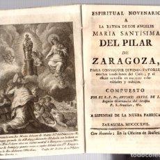 Libros antiguos: ESPIRITUAL NOVENARIO A MARIA SANTISIMA DEL PILAR DE ZARAGOZA. AÑO 1817. Lote 180096192