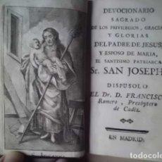 Libros antiguos: VIDA Y DEVOCIONARIO STO. PATRIARCA SAN JOSEPH, FINALES SIGLO XVIII. Lote 180136696
