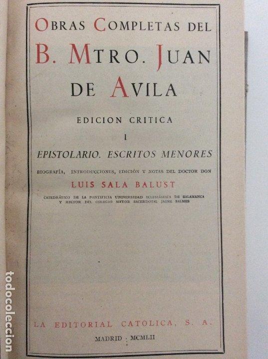 Libros antiguos: OBRAS COMPLETAS. TOMO I. BEATO JUAN DE ÁVILA. BAC. BIBLIOTECA DE AUTORES CRISTIANOS. 1952 - Foto 6 - 180252205