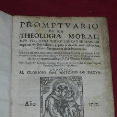 Libros antiguos: (MF) SAN ANTONIO DE PADUA 1717 - PROMPTUARIO DE LA THEOLOGIA MORAL, ZARAGOZA MANUEL ROMAN. Lote 181567197