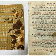 Libros antiguos: SERMON PANEGYRICO-MORAL. SR.SAN LUCAS. XEREZ DE LA FRA. A. J. DE MENCHACA. PTO SANTA MARIA, 1762. Lote 181573002