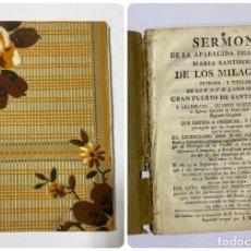 Libros antiguos: SERMON DE MARIA SANTISIMA DE LOS MILAGROS. JUAN CAMACHO. CADIZ, 1791. IMPRENTA PEDRO GOMEZ REQUINA.. Lote 181697005