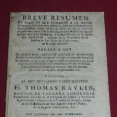 Libros antiguos: (MF) THOMAS RAULIN - BREVE RESUMEN DE TODO LO QUE CONDUCE A SEÑOR OBISPO DE PAVIA 1728. Lote 181749280