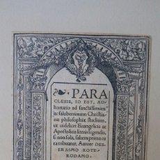 Libros antiguos: HOJA DE UN LIBRO DE ERASMO - 1519. Lote 182081795