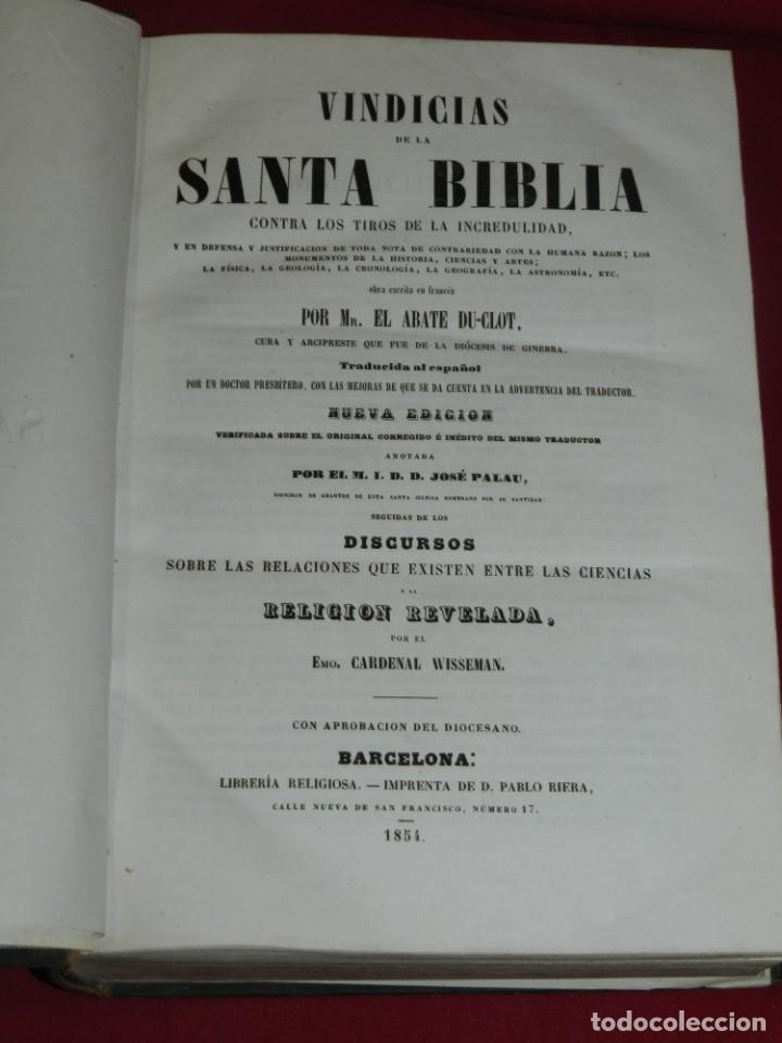 (MF) EL ABATE DU-CLOT - VINDICIAS DE LA SANTA BIBLIA CONTRA LOS TIROS DE LA INCREDILIDAD, BCN 1854 (Libros Antiguos, Raros y Curiosos - Religión)