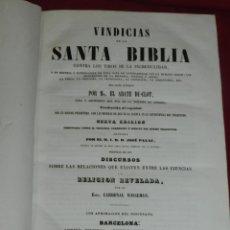 Libros antiguos: (MF) EL ABATE DU-CLOT - VINDICIAS DE LA SANTA BIBLIA CONTRA LOS TIROS DE LA INCREDILIDAD, BCN 1854. Lote 182357330