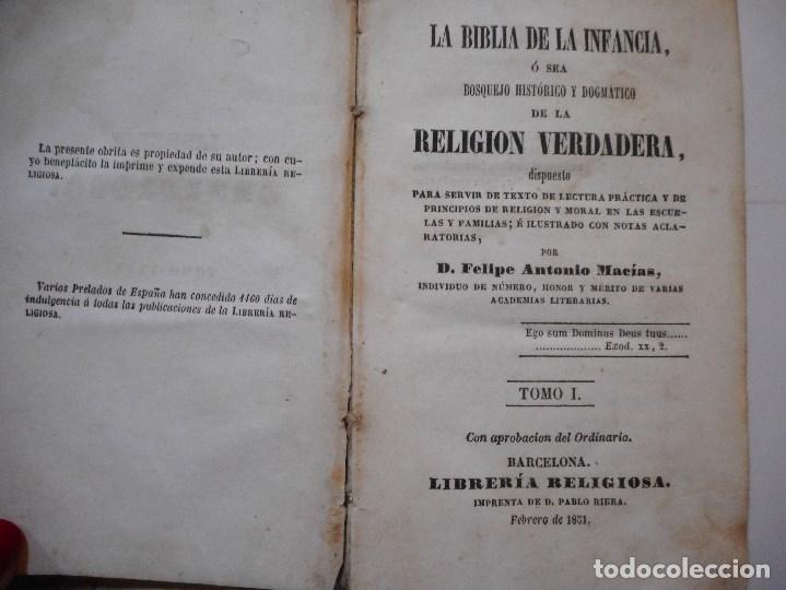 Libros antiguos: La Biblia de la infancia ó sea bosquejo histórico y dogmático de la religión verdadera Y96860 - Foto 2 - 182372302