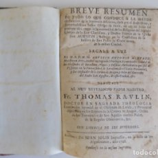 Libros antiguos: LIBRERIA GHOTICA. THOMAS RAVLIN.BREVE RESUMEN DE TODO LO QUE CONDUCE A SEÑOR OBISPO DE PAVIA.1728. Lote 183028411