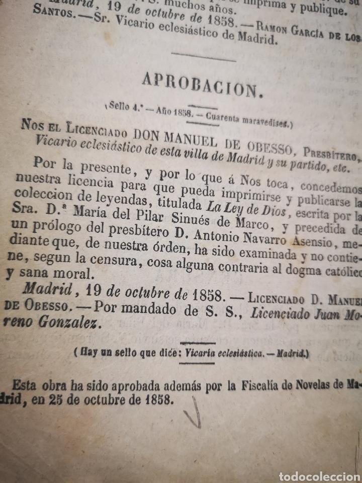 Libros antiguos: LA LEY DE DIOS, COLECCION DE LEYENDAS BASADAS EN PRECEPTOS DEL DECÁLOGO - MARÍA SINUÉS AÑO 1858 - Foto 5 - 183201232