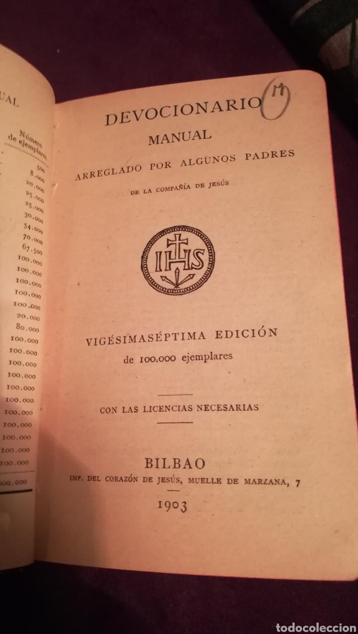 Libros antiguos: Devocionario Manual. 1903. - Foto 2 - 188599536