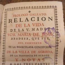 Libri antichi: SOR MARÍA DE JESÚS DE ÁGREDA. PRÓLOGO GALEATO 1759. Lote 189507548
