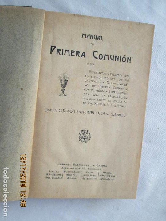 MANUAL DE PRIMERA COMUNIÓN - D. CIRIACO SANTINELLI SALESIANO - LIB. SALESIANA 1908. (Libros Antiguos, Raros y Curiosos - Religión)