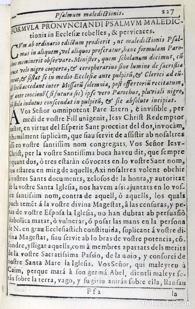 Libros antiguos: 1725 - Fernández Zapata - MALDICIONES en Catalán - Rituale majoricense juxta Rituale Romanum - Foto 10 - 191866878