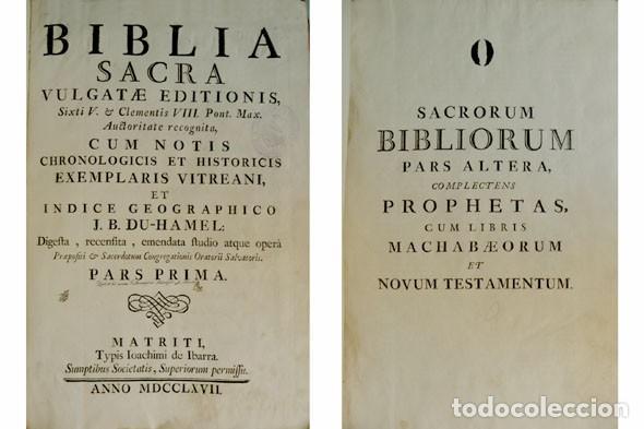 Libros antiguos: Biblia Sacra Vulgatae editionis, Sixti V et Clementis VIII iussu recognita atque edita. 2 T. 1767. - Foto 2 - 194272131