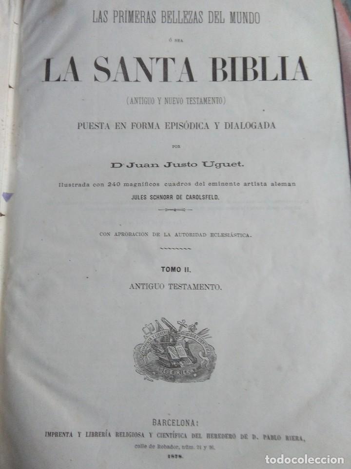 Libros antiguos: Las Primeras Bellezas del Mundo. Santa Biblia. Justo Uguet. Tomo II. Antiguo Testamento. Riera 1878 - Foto 3 - 194304396