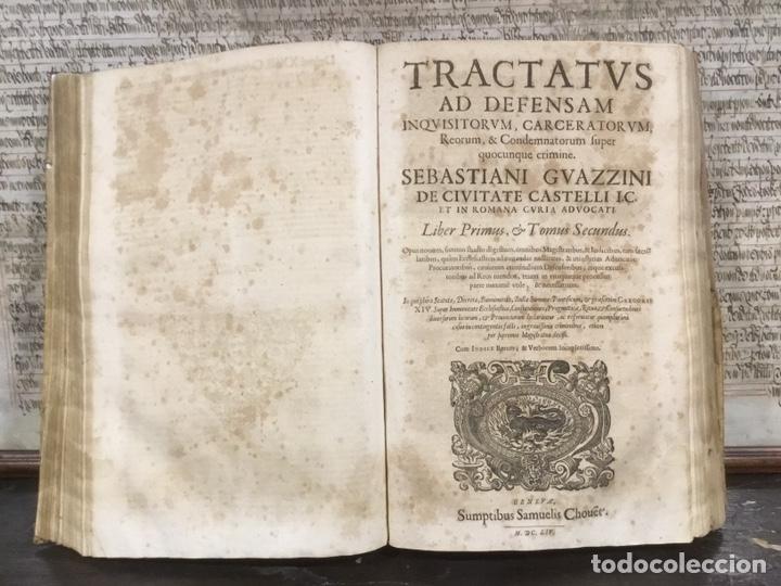 TRATADO SOBRE LA DEFENSA DE LOS CONDENADOS POR LA INQUISICIÓN, SEBASTIANI GUAZZINI , GINEBRA 1654 (Libros Antiguos, Raros y Curiosos - Religión)