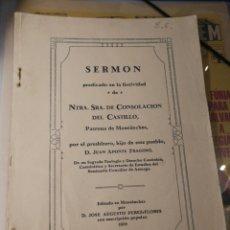 Libros antiguos: SERMON.. VIRGEN DE CONSOLACION DEL CASTILLO. MONTANCHEZ. BADAJOZ 1928. Lote 194509080