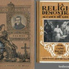 Libros antiguos: DOS OBRAS -- BALMES / UGARTE DE ERCILLA + LA RELIGIÓN AL ALCANCE DE LOS NIÑOS / BALMES. Lote 194681350