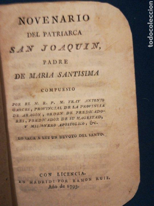 NOVENA RÍO DEL PATRIARCA SAN JOAQUÍN PADRE DE MARIA SANTÍSIMA 1793 (Libros Antiguos, Raros y Curiosos - Religión)