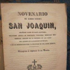 Libros antiguos: NOVENARIO DEL GLORIOSO PATRIARCA SAN JOAQUÍN TOLEDO 1856. Lote 194896757