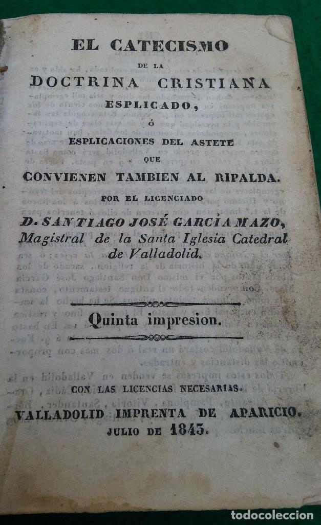 ESCASO LIBRO CATECISMO DE LA DOCTRINA CRISTIANA EXPLICADO, 1843, CUBIERTA EN PIEL. (Libros Antiguos, Raros y Curiosos - Religión)