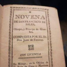 Libros antiguos: NOVENA DE SAN FRANCISCO DE SALES POR JUAN DE FERRERA MÁLAGA 1787. Lote 194898506