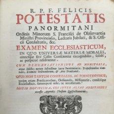 Libros antiguos: LIBRO PERGAMINO - POTESTATIS PANORMITANI - R.P.F. FELICIS - AÑO 1722 - GCH1. Lote 195167243