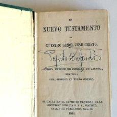Libros antiguos: NUEVO TESTAMENTO 1874 ANTIGUA VERSIÓN CIPRIANO VALERA REVISADA AL TEXTO GRIEGO SOCIEDAD BÍBLICA. Lote 195172358