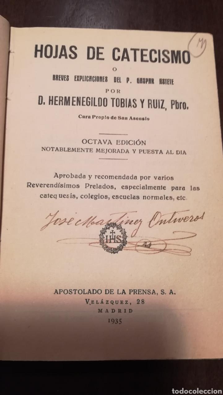 Libros antiguos: Hojas de Catecismo. Libro de 1935. - Foto 2 - 195335125